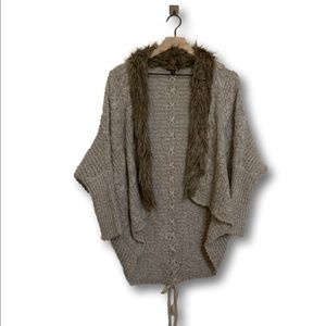 XOXO Women's Fur Lined Soft Oversized Cardigan